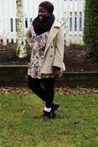 black H&M scarf - beige true value vintage dress - beige fletcher by lyell coat