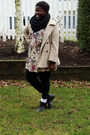 Black-h-m-scarf-beige-true-value-vintage-dress-beige-fletcher-by-lyell-coat-