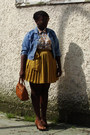 Light-blue-thrifted-jean-jacket-light-yellow-blouse-gold-gap-skirt