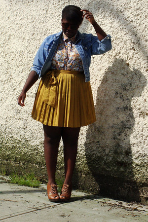 gold Gap skirt - light blue thrifted jean jacket - light yellow blouse