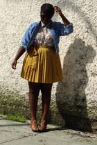 gold Gap skirt - light blue thrifted jean jacket - light yellow blouse