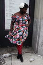 Black-value-village-dress-red-gap-belt-red-joe-fresh-style-stockings-black
