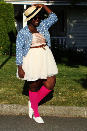 pink H&amp;M dress - blue jacket - pink stockings - white shoes - beige Dressew acce