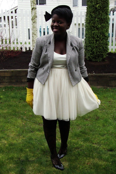 black thrifted jacket - white thrifted skirt - white H&M shirt - gold Deena & Oz