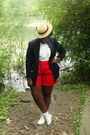 Blue-blazer-white-shirt-red-shorts-beige-hat-white-shoes