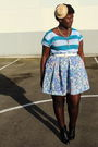 Blue-american-eagle-t-shirt-blue-liberty-of-london-skirt-blue-thrifted-blaze
