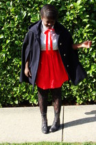 navy coat - white H&M shirt - red skirt - black boots