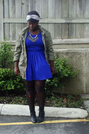 blue Forever 21 dress - beige accessories - black payless boots - green Bluenote
