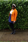 Orange-blazer-cream-blouse-blue-skirt-black-american-eagle-outfitters-legg