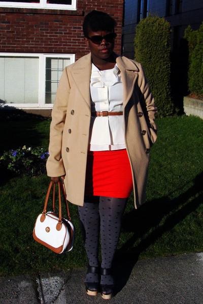 camel banana republic coat - cream blouse - orange Forever 21 skirt