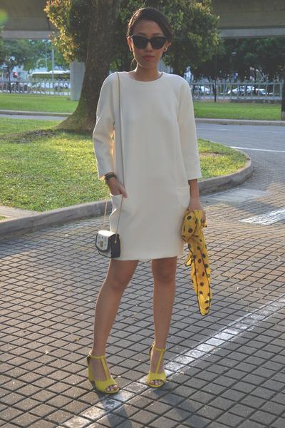 black black and white MCM bag - white shift dress Massimo Dutti dress
