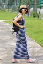 blue maxi Only dress - black backpack Victorias Secret bag