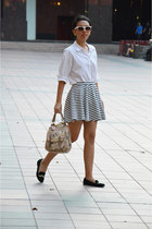 white striped cotton on skirt - eggshell new look bag