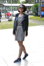nike sneakers - striped H&M dress - leather jacket H&M jacket