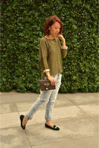 light blue Zara jeans - olive green Topshop sweater - crimson Topshop bag