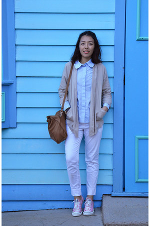 bronze leather bag Zara bag - light blue COS blouse