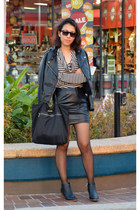 black leather look COS boots - black leather jacket H&M jacket