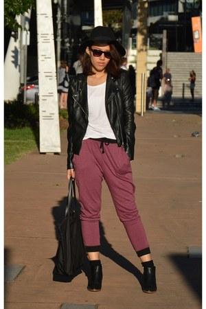 black COS boots - black floppy hat H&M hat - black leather jacket H&M jacket