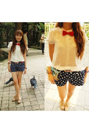 polka shorts shorts - brogues shoes - white button down top top - red belt belt