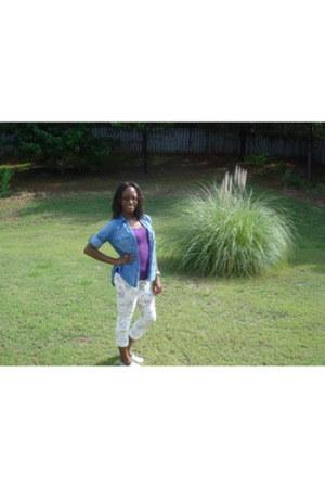floral skinny jeans - glitter big buddah shoes - denim button up shirt