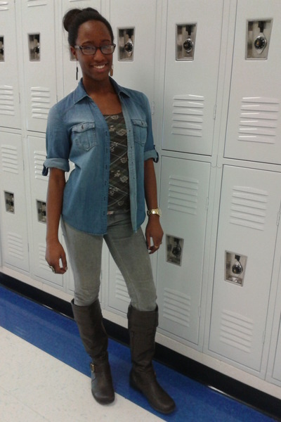 Leather Jeans And Boots Boots Skinny Grey Jeans