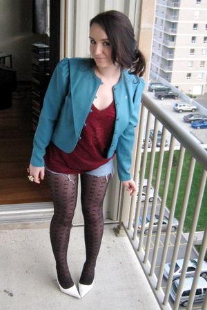 blue thrifted blazer - red joe fresh style shirt - blue Dish shorts - black rand