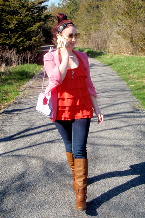 pink silk talula babaton blouse - brown Miss Sixty boots - blue thrifted jeans