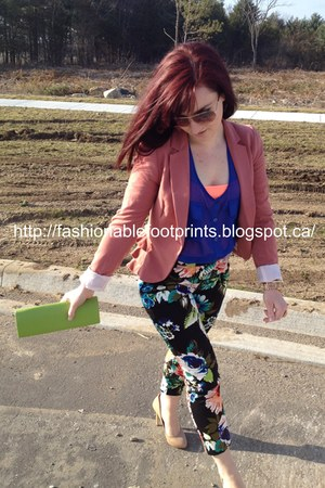 H&M blazer - thrifted bag - J Crew top - random brand blouse - BCBG pumps