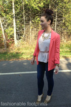 H&M blazer - expression shoes - Guess jeans - H&M blouse - Michael Kors watch