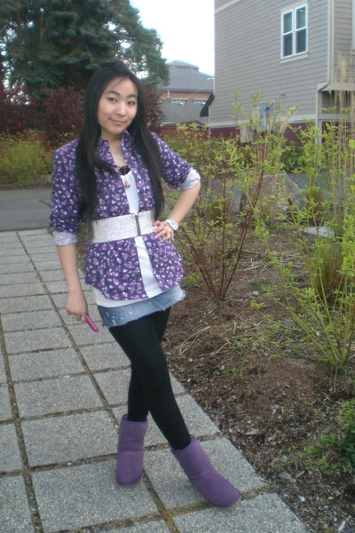 purple Ugg boots - blue abercrombie and fitch skirt - silver American Apparel be