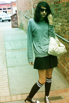 green Rue 21 top - silver sweater - black skirt - black Rue 21 socks - black Rue