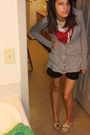 Red-shirt-silver-cardigan-black-target-shorts-white-toms-shoes