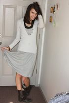 silver dress - black American Eagle top - white sweater - black boots