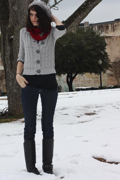 blue pacific sunwear shirt - black shirt - silver sweater - black boots - red sc