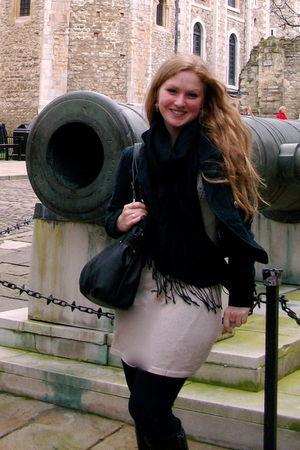 beige Topshop dress - black Target blazer - black Topshop scarf - black Nine Wes