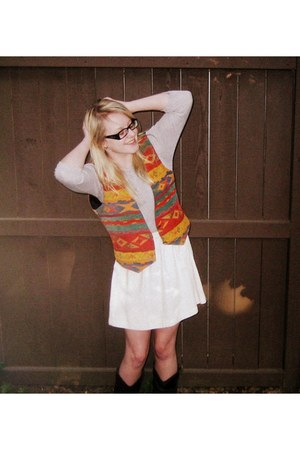 heather gray Tommy Hilfiger sweater - ivory Urban Outfitters skirt - orange vint