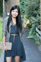 army green Sugarlips dress - camel new look jacket - camel Aldo bag