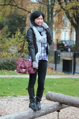 black Frye boots - black Topshop jeans - black Topshop jacket