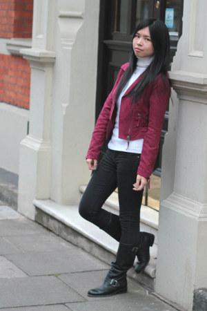 ruby red H&M jacket - black Topshop jeans - dark gray balenciaga bag