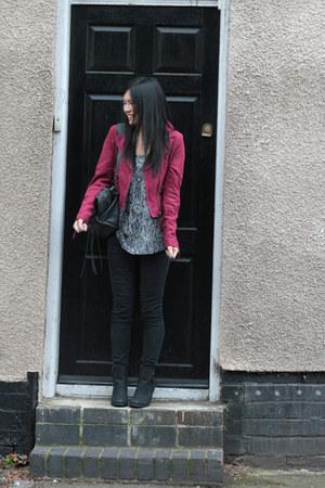 maroon H&M jacket - black H&M boots - black Topshop jeans