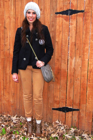 black Forever 21 coat - light orange Zara pants - bronze Nine West boots