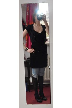black H&M dress - black c&a vest - blue H&M jeans - black Vila stockings - black