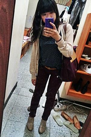 beige oxfords Taobao shoes - crimson bordeaux Zara jeans