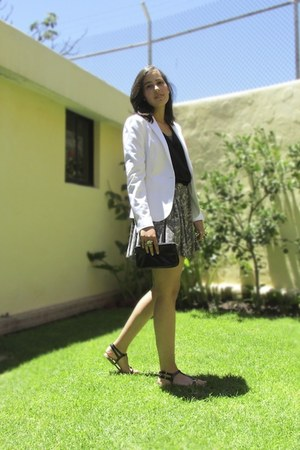 Zara blazer - united colors of benetton dress - Forever 21 shirt - MNG sandals