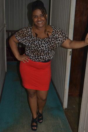 red H & M skirt - black Candies wedges
