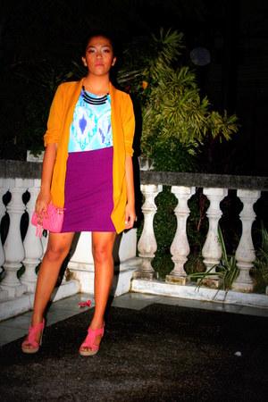 magenta Forever 21 skirt - mustard Thrift Store blazer