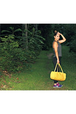 yellow no 5 duffel bag