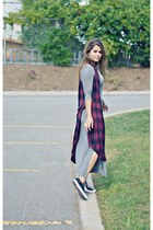 gray long sleeve Sheinsidecom dress - navy plaid Forever 21 dress