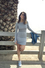 Heather-gray-hm-dress-light-blue-chambray-vans-sneakers