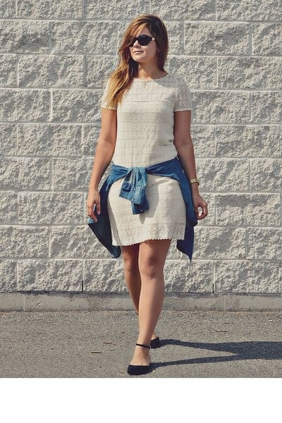 cream crochet tory burch dress - blue denim garage shirt